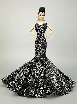 Black Evening Lace Outfit Poppy Parker Dress Silkstone Barbie Fashion Royalty FR