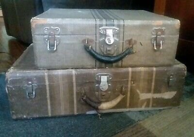 Set of 2 Vintage 1940's Tweed Look Cardboard Suitcases w/Leather Handles