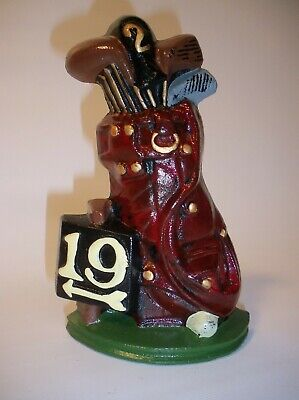 """19th Hole"" Door Stop Cast Iron Golf Bag of Clubs Model # S-274"