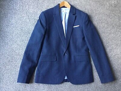 H&M Boys blue linen lined single breast jacket age 12-13 yrs worn once