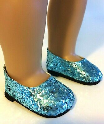 "BLUE GLITTER PRINCESS SHOES fits American Girl, 18"" Doll Frozen Elsa Dress Shoes"
