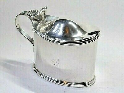 ANTIQUE VICTORIAN CRESTED 106g SOLID SILVER STERLING MUSTARD POT SHEFFIELD 1891