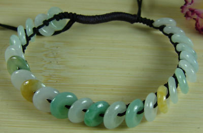 3 Colors Grade A Jade Coin Bracelet Bangle Chinese Jadeite Handmade 50-60 mm