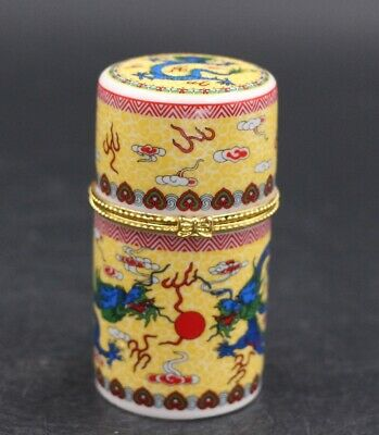Chinese Porcelain Yellow Dragon Toothpick Box Holder Storage Jewelry Box 双龙戏珠
