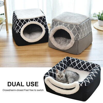 Pet Cat Dog Nest Bed Puppy Soft Warm Cave House Winter Igloos Basket Kennel Mat