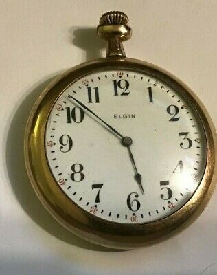 Antique Elgin Pocket Watch-Wadsworth Referee Gold Filled Case-1914-Sold As Is