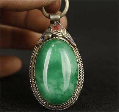 China Tibet Silver Inlay Natural Green Jade Cloisonne Red Flower Pendant AS