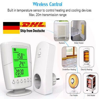 Wireless RF Plug In Thermostat Heizung Funksteckdose Temperatur Raumthermostat