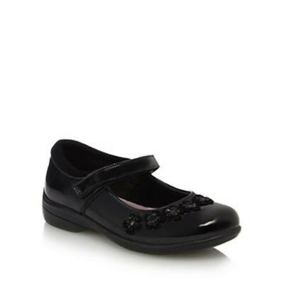 Debenhams Black patent Flower Mary Jane School Shoes UK 3 EU 36 JS181 JJ 12