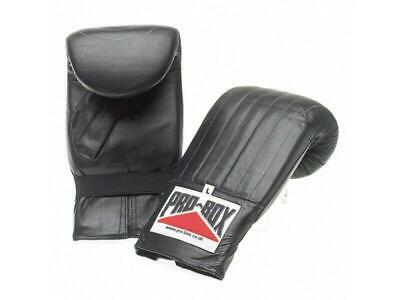 Pro Box Bag Mitts Boxing Training Gloves Leather - Black