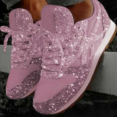 Women Sequin Glitter Rhinestone Lace Up Fashion Shoes Comfort Athletic Boots