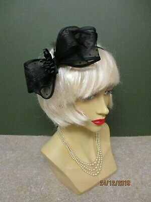 Fascinator -Hat Black Net Bow With Feather Decoration