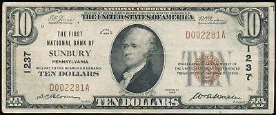 1929 $10 National Currency The First National Bank Of Sunbury, PA Ch. # 1237