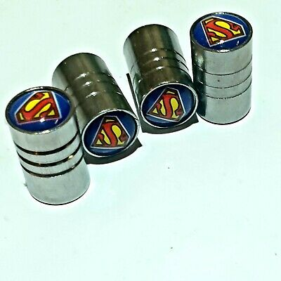 4 Ventilkappen Superman Auto, Silber, Scooter, Chrom, Metall, Performance