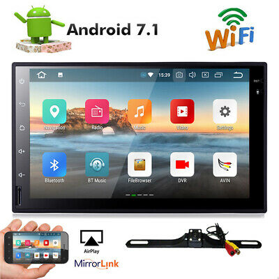 """Camera+Android 7.1 Car stereo GPS CD DVD player 7"""" Tablet Double 2DIN Radio WiFi"""
