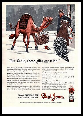 1943 Paul Jones Whiskey Camel Delivering Christmas Gifts Snow Tree Print Ad