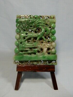 Rare Antique Burma Myanmar Jade hand carved mythical animal motif OOAK c1920s