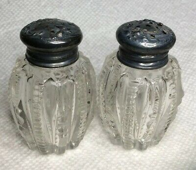 Antique Art Nouveau Sterling Silver Cut Crystal Glass Salt & Pepper Shakers