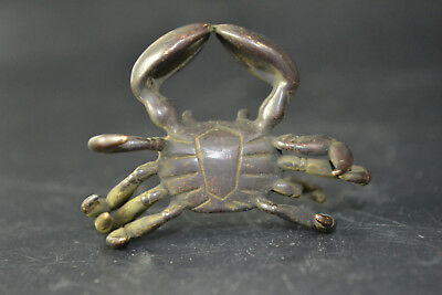 Chinese Collectible Old Copper handwork abstract crab wonderful ornament Statue