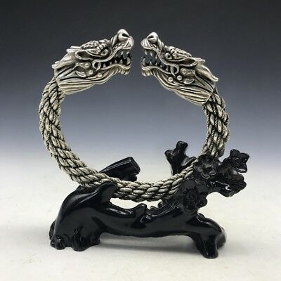 Old China's Miao silver Copper Handmade twist-style creative Dragon Bracelet  YT