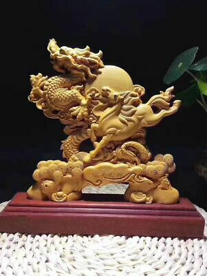 """9"""" Natural Boxwood Wood Carved Fengshui Zodiac Dragon Horse Sculpture Statue s72"""