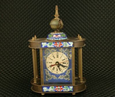 Antique chinese old cloisonne copper Mechanical Movement flower clock watch
