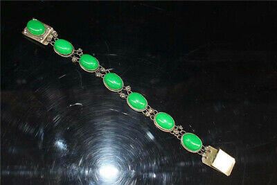 """9.06"""" Collection Old Chinese Tibetan silver Handmade inlay green jade Bracelet"""