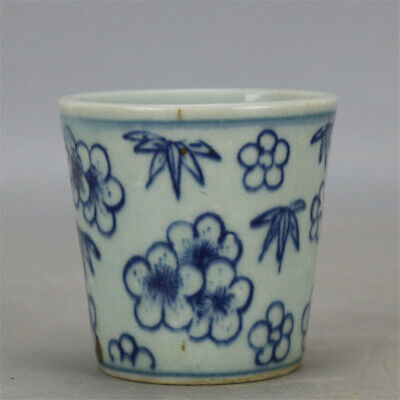 """2.76""""China Antique Blue and white Porcelain painting flower pattern cup teacup"""