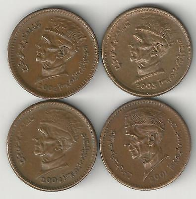 4 DIFFERENT 1 RUPEE COINS from PAKISTAN (2001, 2002, 2003 & 2004)