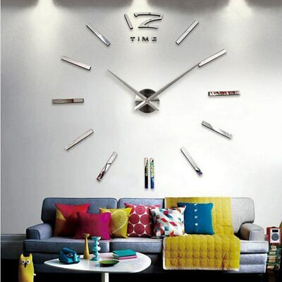 Wall Clock 3D Acrylic Mirror Large Stickers for Living Room with 2 Hands Quartz