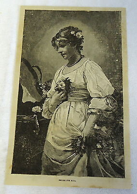 1882 magazine engraving ~ BEFORE THE BALL, woman w/ flowers in hands