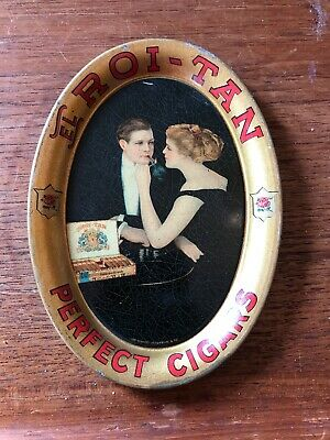 Antique Early  EL ROI-TAN PERFECT CIGARS Advertising Tin Tip Tray VIEW PAYMENT