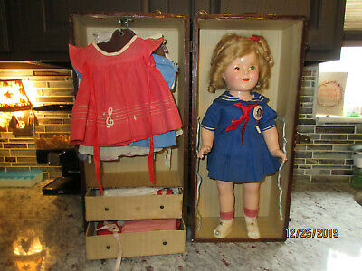 "20"" vintage 1930's  Shirley Temple Doll with hard to find 20""  Trunk and outfits"