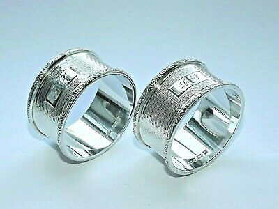 VINTAGE HEAVY 62g SOLID SILVER STERLING PAIR OF NAPKIN RINGS HM BIRMINGHAM 1954