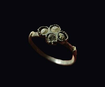** AMAZING   **  Ancient Byzantine Silver  Ring  ** 4 STONES **