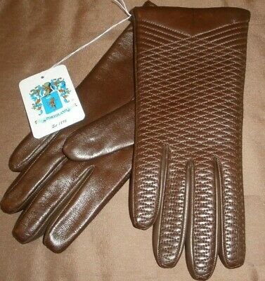 New Portolano Sz 6 1/2 Women's Brown Leather Gloves 100% Cashmere Lined