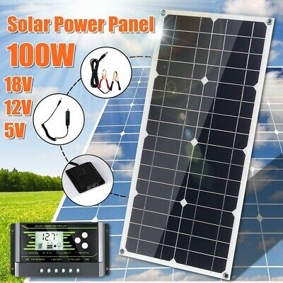 100W 18V Flexible Mono Solar Panel Kit Controller USB For Car RV Boat Charger