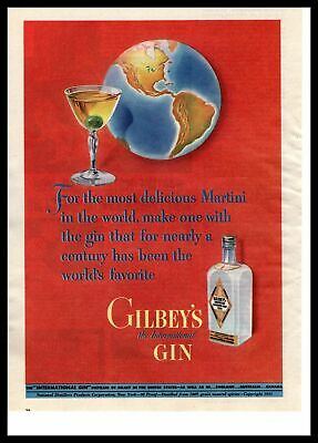 """1943 Gilbey's International Gin """"Most Delicious Martini In The World"""" Print Ad"""