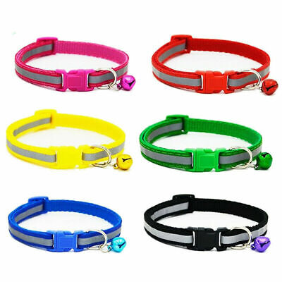 Cat Collar Bell Reflective Pet Collars Cats Dogs Strip Chain Adjustable Necklace