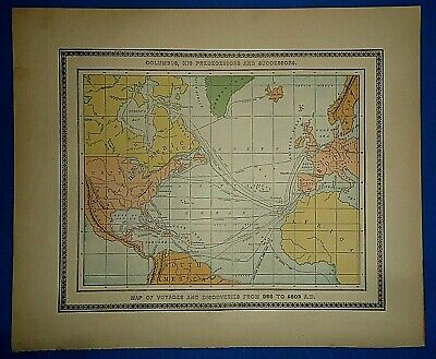 Vintage 1896 EARLY VOYAGES & DISCOVERIES MAP Old Antique Original & Authentic