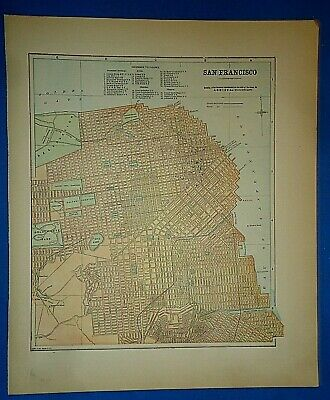 1927 PICTORIAL map San Francisco Shows streets places of Interest POSTER 8102