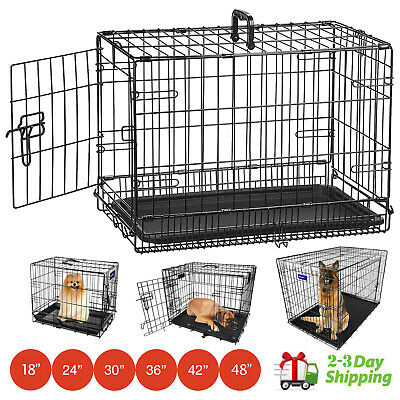 Dog Cage Puppy Training Crate Pet Carrier Folding Training Metal Travel New!