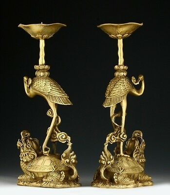 PAIR OF ORIENTAL CHINESE CARVED COPPER CANDLE STICK-CRANE LUCKY STATUES 23CM s11