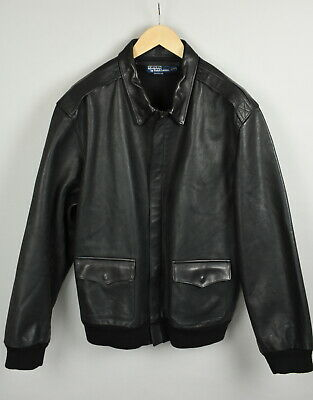 POLO BY RALPH LAUREN Men's XX LARGE Genuine Leather Biker Bomber Jacket 20424-JS