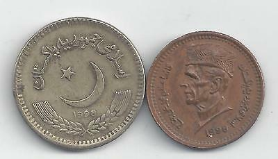 2 DIFFERENT COINS from PAKISTAN - 1 & 2 RUPEE (BOTH DATING 1998)