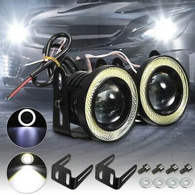2.5'' 15W Car White COB LED Projector Angel Eyes Blue Ring DRL Fog Light Lamp LO
