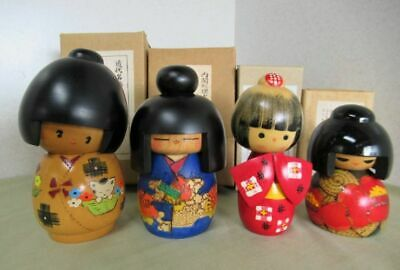 Tradition Modern masterpiece Creative wooden Kokeshi doll 4 body set Handmade ②