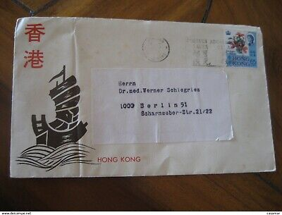 Kowloon Hong Kong To Berlin Germany Stamp Cancel Cover British Colonies Cina Ch