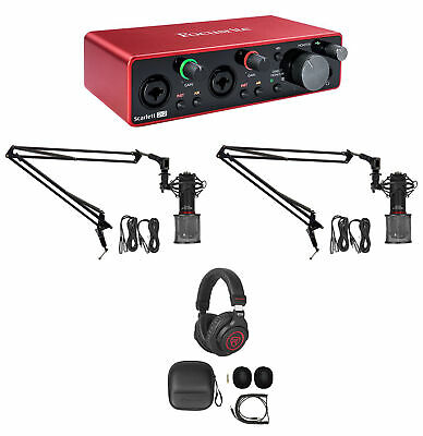 Focusrite SCARLETT ASMR Recording Streaming Kit Interface+Mics+Booms+Headphones