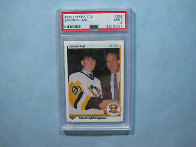 1990/91 Upper Deck Nhl Hockey Card #356 Jaromir Jagr Rookie Psa 9 Mt Sharp+ Ud